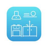 Kitchen interior line icon