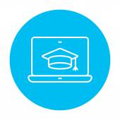 Laptop with graduation cap on screen line icon