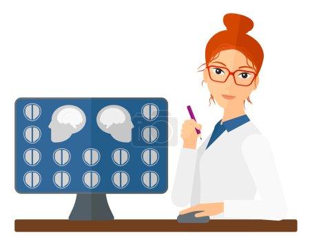 Illustration pour Un médecin qui regarde les résultats de l'IRM scanner sur un vecteur d'écran d'ordinateur dessin plat illustration isolée sur fond blanc. Mise en page horizontale - image libre de droit