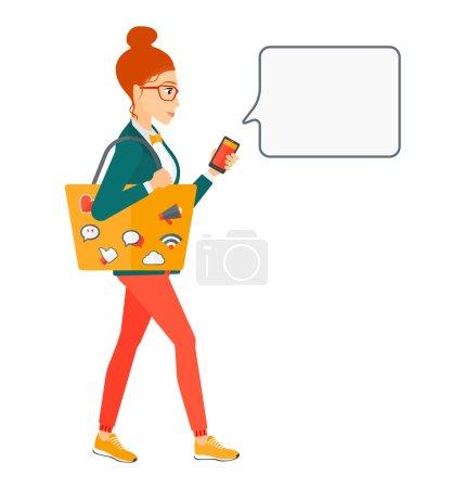 Illustration pour Une femme marche avec un sac rempli d'icônes des médias sociaux et tenant un smartphone dans la main vecteur plat illustration de conception isolée sur fond blanc. Aménagement carré - image libre de droit