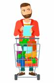 A thoughtful man standing with full supermarket trolley and holding a shopping list in hands vector flat design illustration isolated on white background