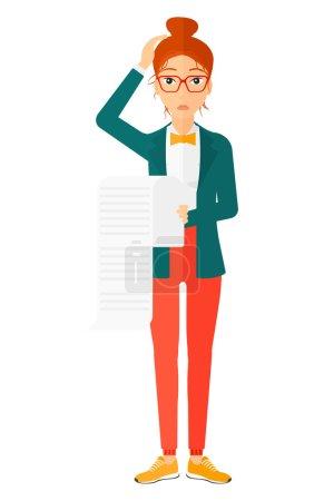Illustration pour Un employé inquiet tenant une longue facture à la main vecteur plat illustration de conception isolé sur fond blanc - image libre de droit
