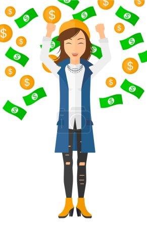 Illustration pour Un entrepreneur prospère avec les mains levées debout sous l'argent volant vecteur plat illustration de conception isolé sur fond blanc - image libre de droit