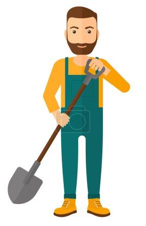 Illustration pour Un agriculteur creusant avec une illustration de dessin plat vectoriel de bêche isolé sur fond blanc - image libre de droit