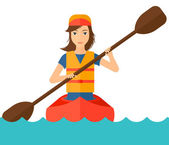 Woman riding in canoe