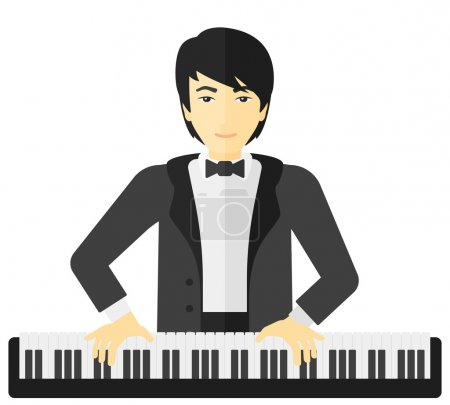 Illustration pour Un musicien asiatique jouant du piano vecteur plat illustration de conception isolé sur fond blanc - image libre de droit