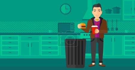 Illustration pour Un homme debout dans la cuisine et mettant de la malbouffe dans une poubelle vectorielle illustration de design plat. Mise en page horizontale - image libre de droit