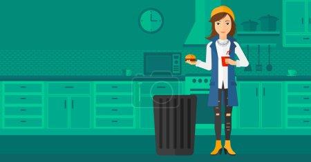 Illustration pour Une femme debout dans la cuisine et mettant de la malbouffe dans une poubelle vectorielle illustration de design plat. Mise en page horizontale - image libre de droit