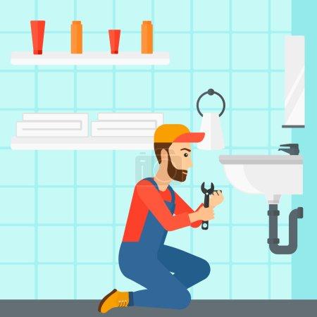 Illustration pour Une femme assise dans une salle de bain et réparant un évier avec une illustration vectorielle de design plat. Aménagement carré - image libre de droit