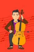 A man playing cello on a red background with music notes vector flat design illustration Vertical layout