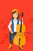 A woman playing cello on a red background with music notes vector flat design illustration Vertical layout