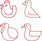 Set of various poultry animals icons vector