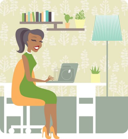 Illustration for Young lady working from home vector character - Royalty Free Image