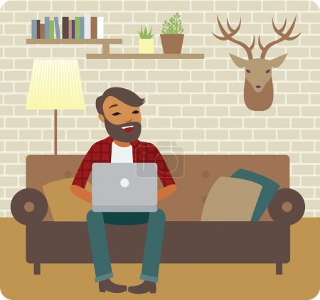 Illustration for Young man freelancer working from cozy home - Royalty Free Image