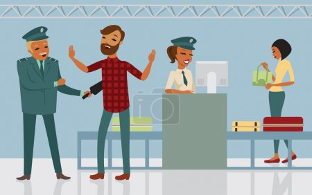 Illustration for Passengers passes security check at the airport - Royalty Free Image