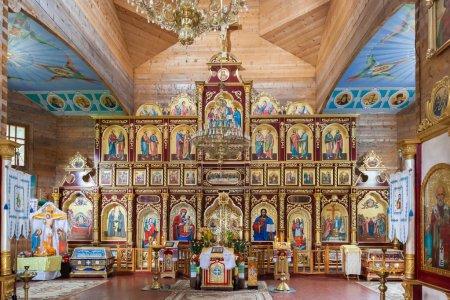Interior of Orthodox Christian church near Manyavsky monastery