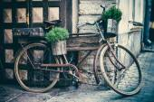 Vintage stylized photo of old bicycle carrying flower pots
