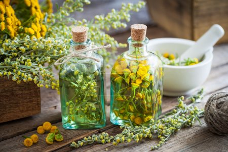 Tincture bottles of tansy and tarragon healthy herbs, absinthe h