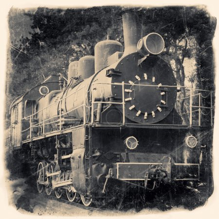 Photo for Old locomotive in retro black and white design, vintage stylized - Royalty Free Image