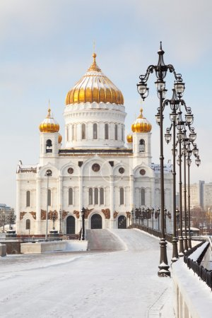 Church of Christ the Savior in Moscow at beautiful winter