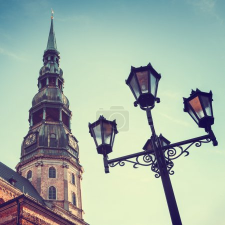 Photo for Saint Peters Church in old city Riga, Latvia. Retro styled photo. - Royalty Free Image