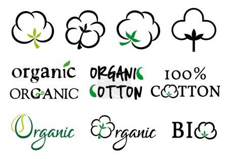Illustration for Organic cotton symbols, vector set - Royalty Free Image