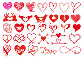 Heart love Valentines day big set of vector graphic design elements