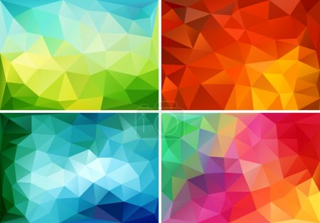 Illustration for Abstract colorful low poly backgrounds, set of vector design elements - Royalty Free Image