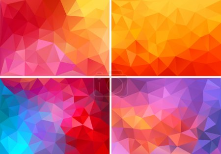Illustration for Abstract red,orange,pink low poly backgrounds, set of vector design elements - Royalty Free Image