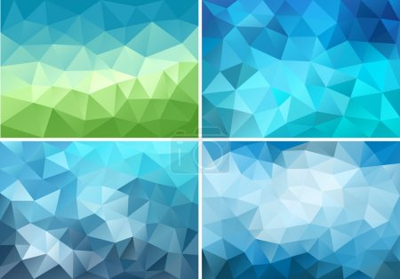 Illustration for Abstract blue and green low poly backgrounds, set of vector design elements - Royalty Free Image