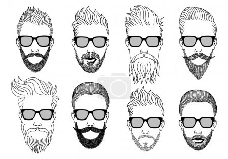 Illustration for Hipster faces with beard and mustache, hand-drawn illustration, vector set - Royalty Free Image