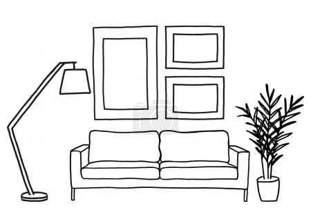 Illustration for Hand-drawn living room with sofa and blank picture frames, vector mockup illustration - Royalty Free Image