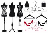 Mannequin tailors dummy clothes hanger shoes vector set for fashion shops