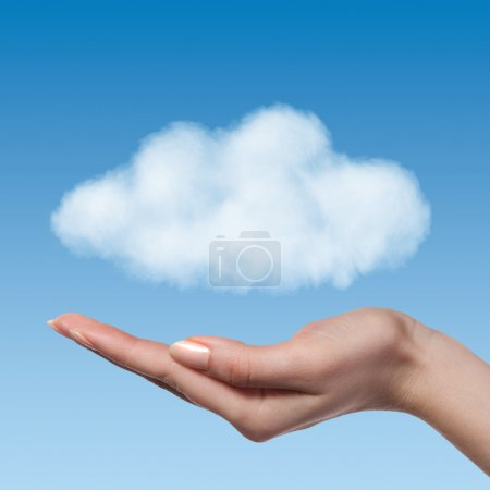 Woman hand offer the cloud