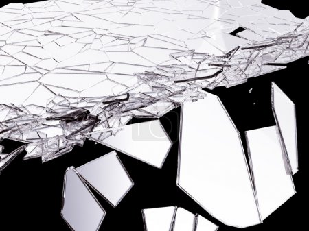 Pieces of Shattered glass on white