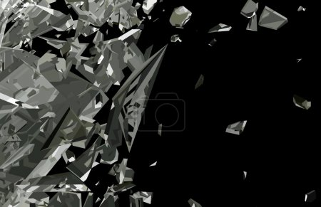 Shattered glass with motion blur