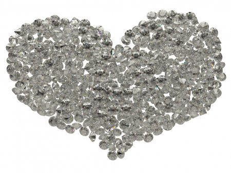 Photo pour Grande forme coeur diamants étincelants, isolé sur blanc - image libre de droit