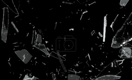Photo for Shattered and splitted glass Pieces isolated on black - Royalty Free Image