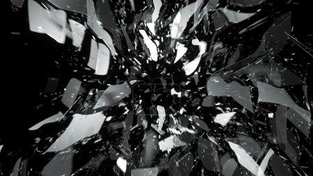 Photo pour Bris de verre avec flou de mouvement sur noir. Grande résolution - image libre de droit