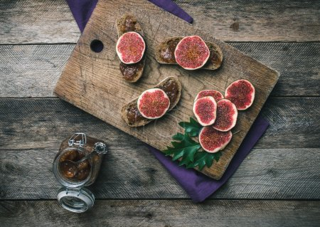 figs, nuts and bread with jam