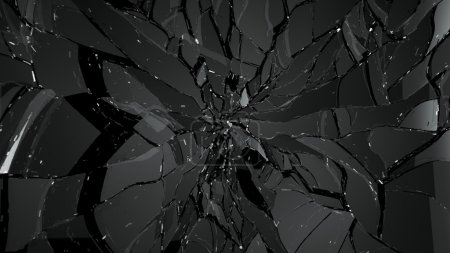 Pieces of broken and cracked glass