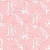 Vector pink Children seamless print pattern of rabbits carrots and shrubs