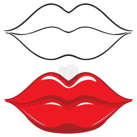Vector illustration. Sexy red female lips
