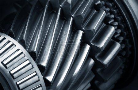Photo pour Roues en métal pour engrenages close-up - image libre de droit