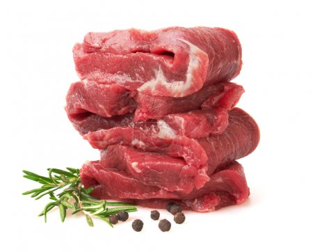 Photo for Fresh Raw Meat with pepper and rosemary, isolated on white backgroun - Royalty Free Image