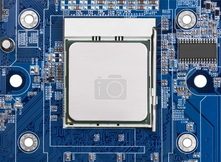 Photo for Electronic circuit board with processor, close up. - Royalty Free Image