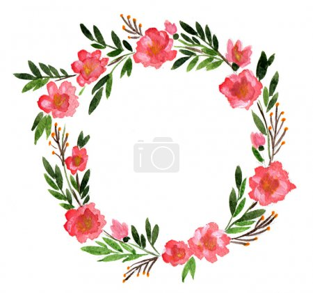 Photo for Watercolor ornament, round wreath of flowers and leaves on a white background isolated - Royalty Free Image