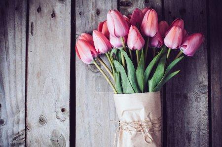 Fresh spring pink tulips