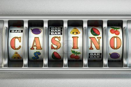 Slot machine with casino text. Jackpot concept.
