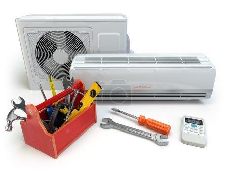 Photo pour Climatiseur avec outils et boîte à outils. Réparation du concept de climatiseur. 3D - image libre de droit